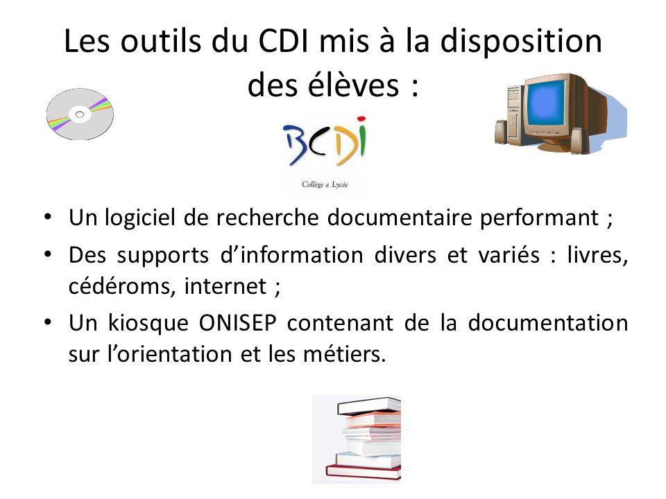 Les outils du CDI mis à la disposition des élèves :
