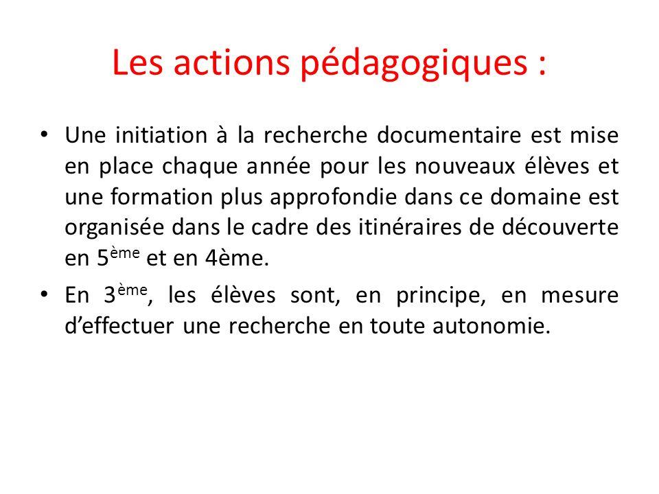 Les actions pédagogiques :