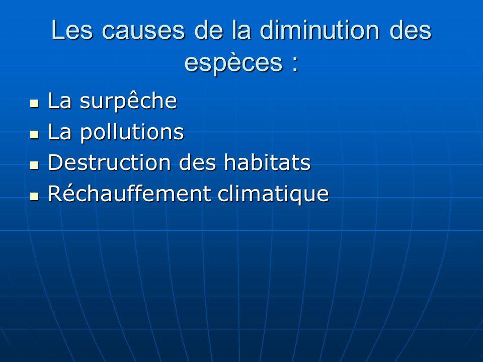 Les causes de la diminution des espèces :