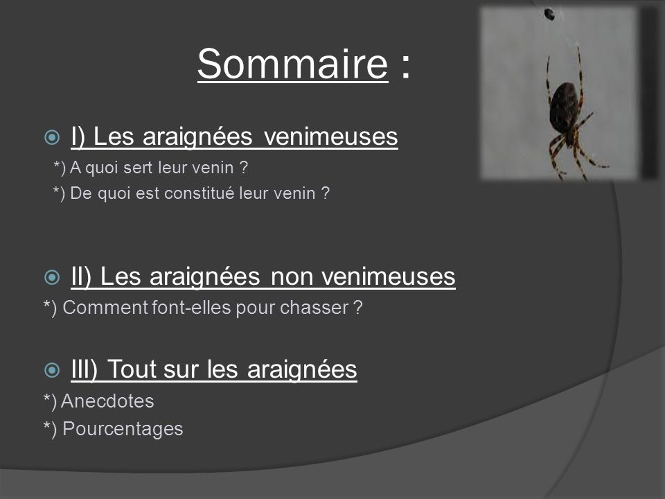Sommaire : I) Les araignées venimeuses