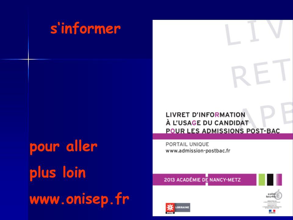 s'informer pour aller plus loin www.onisep.fr