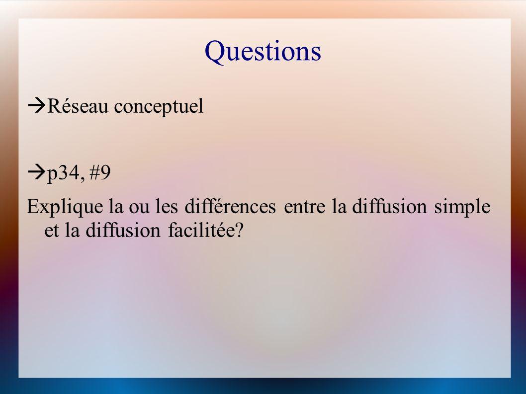 Questions Réseau conceptuel p34, #9 Explique la ou les différences entre la diffusion simple et la diffusion facilitée.