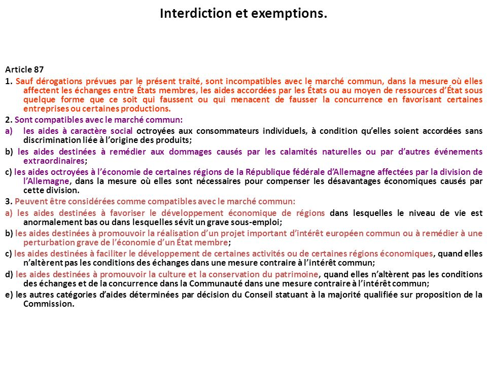 Interdiction et exemptions.