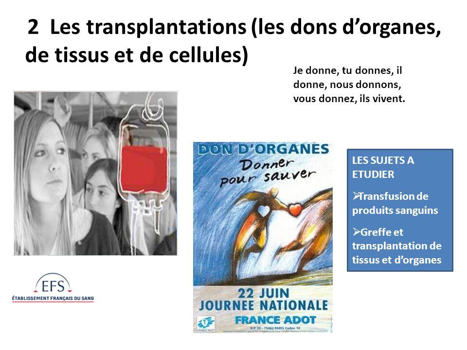 2 Les transplantations (les dons d'organes, de tissus et de cellules)