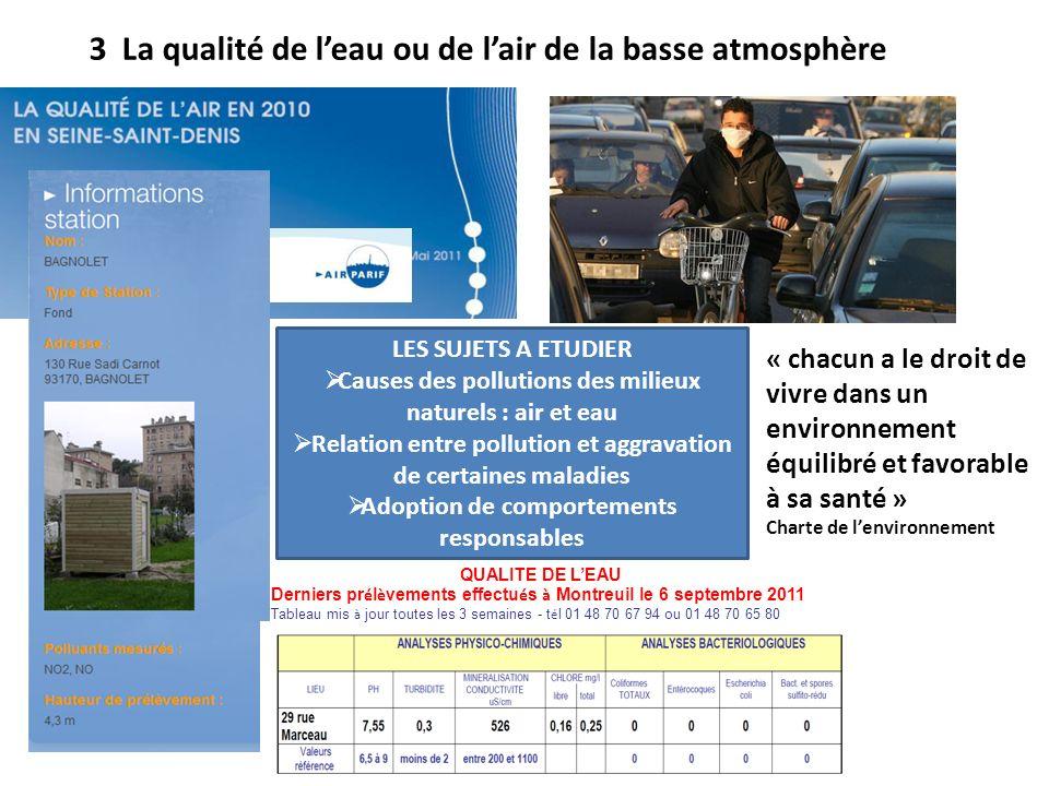 3 La qualité de l'eau ou de l'air de la basse atmosphère