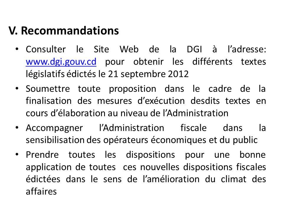 V. Recommandations