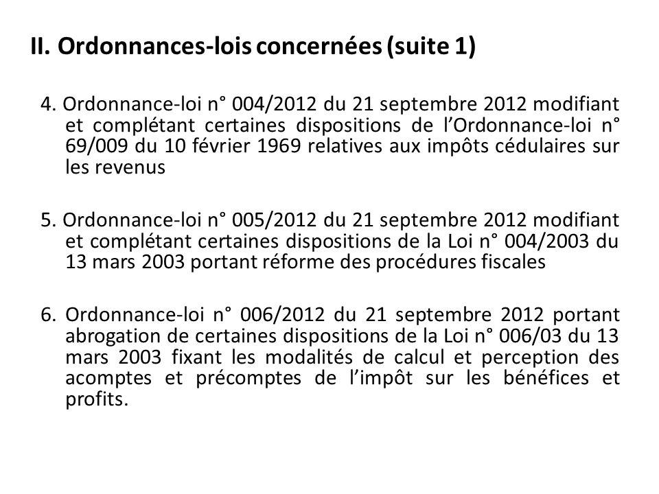 II. Ordonnances-lois concernées (suite 1)