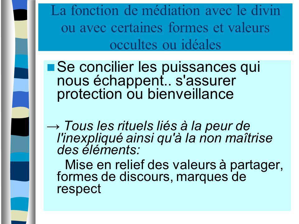 La fonction de médiation avec le divin ou avec certaines formes et valeurs occultes ou idéales