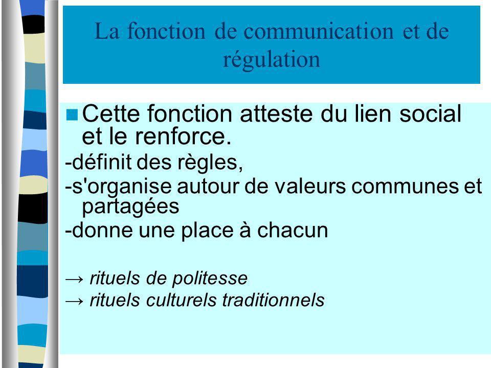La fonction de communication et de régulation