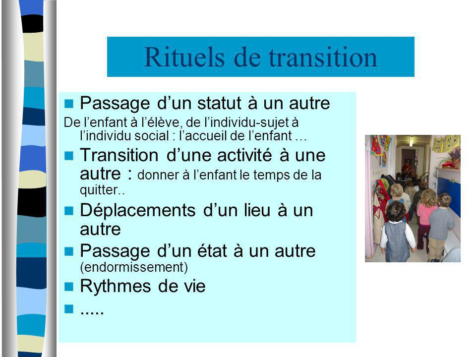 Rituels de transition Passage d'un statut à un autre