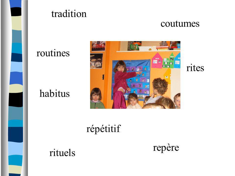 tradition coutumes routines rites habitus répétitif repère rituels