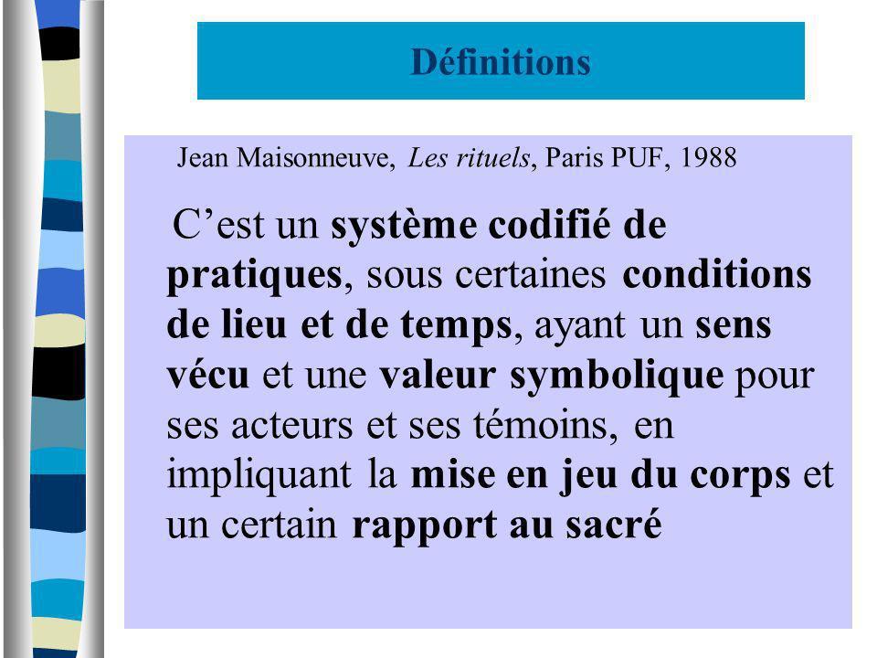 Définitions Jean Maisonneuve, Les rituels, Paris PUF, 1988.