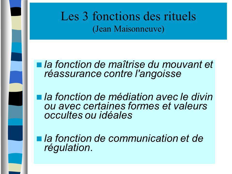 Les 3 fonctions des rituels (Jean Maisonneuve)