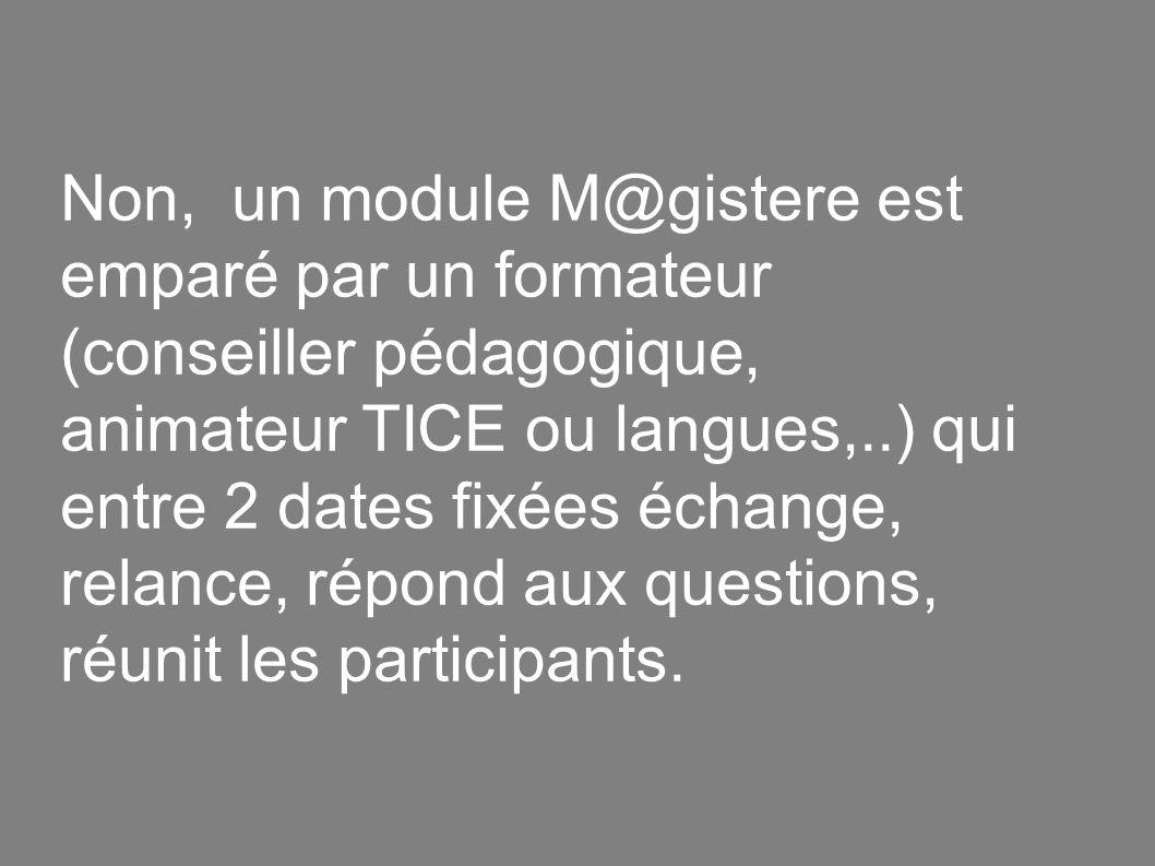 Non, un module M@gistere est emparé par un formateur (conseiller pédagogique, animateur TICE ou langues,..) qui entre 2 dates fixées échange, relance, répond aux questions, réunit les participants.