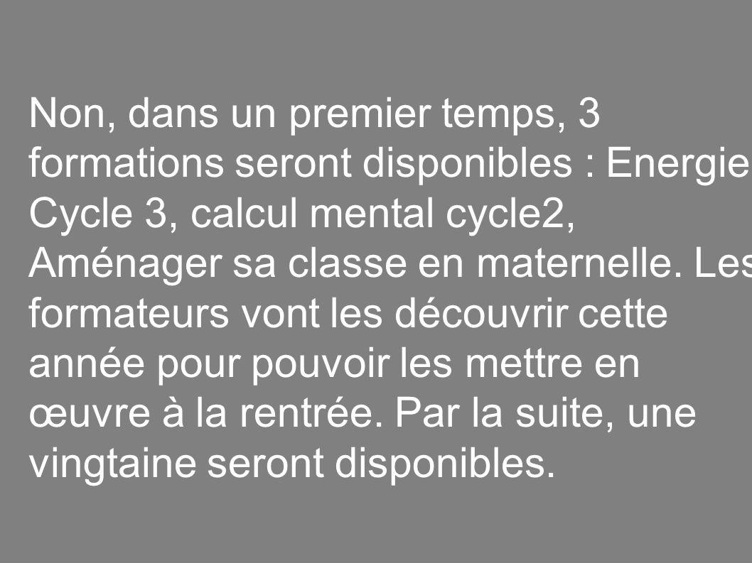 Non, dans un premier temps, 3 formations seront disponibles : Energie Cycle 3, calcul mental cycle2, Aménager sa classe en maternelle.