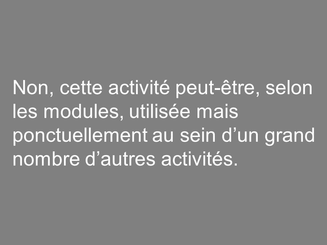 Non, cette activité peut-être, selon les modules, utilisée mais ponctuellement au sein d'un grand nombre d'autres activités.