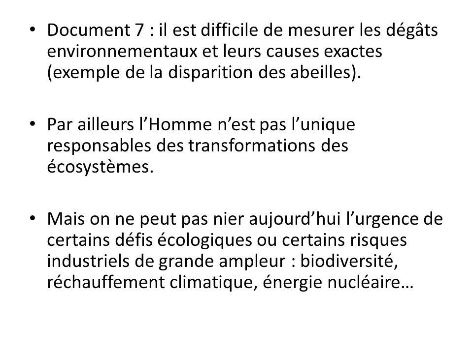 Document 7 : il est difficile de mesurer les dégâts environnementaux et leurs causes exactes (exemple de la disparition des abeilles).