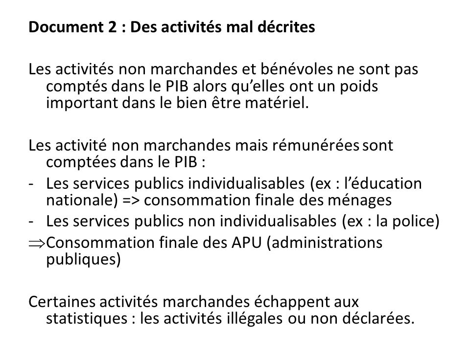 Document 2 : Des activités mal décrites