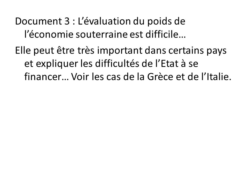 Document 3 : L'évaluation du poids de l'économie souterraine est difficile… Elle peut être très important dans certains pays et expliquer les difficultés de l'Etat à se financer… Voir les cas de la Grèce et de l'Italie.