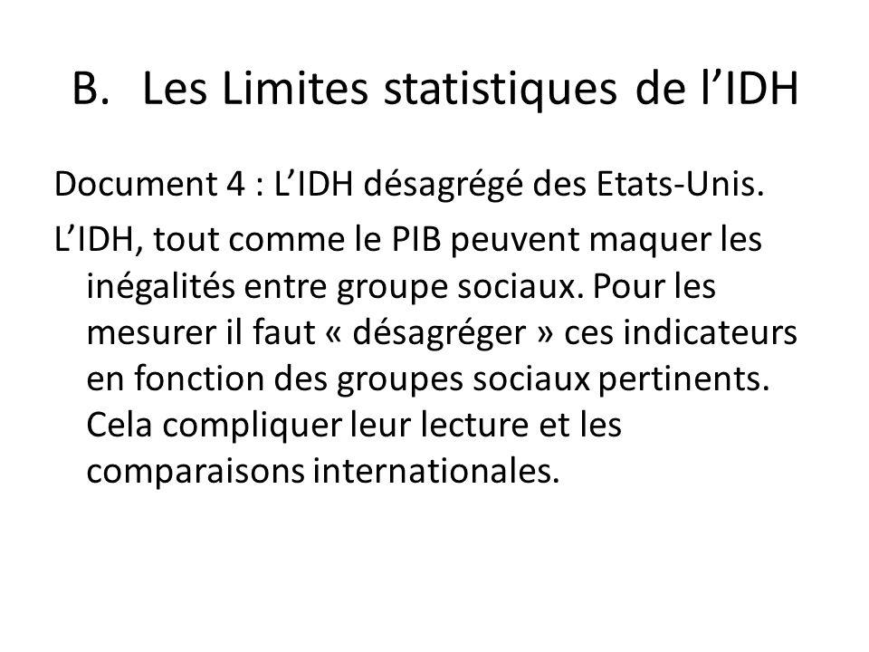 Les Limites statistiques de l'IDH