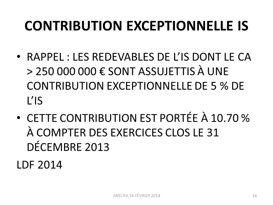 CONTRIBUTION EXCEPTIONNELLE IS