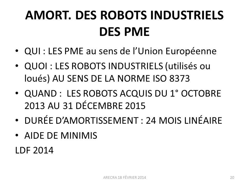 AMORT. DES ROBOTS INDUSTRIELS DES PME