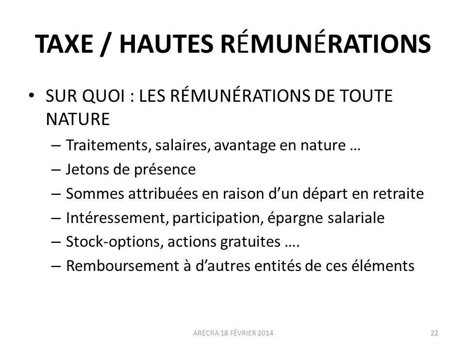 TAXE / HAUTES RÉMUNÉRATIONS
