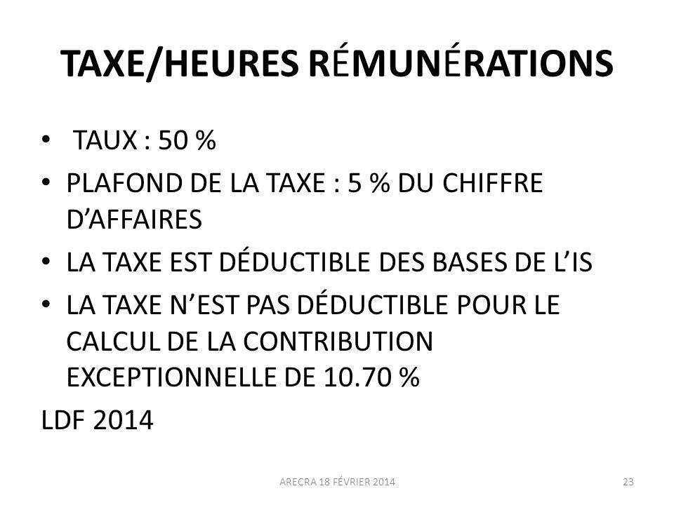 TAXE/HEURES RÉMUNÉRATIONS
