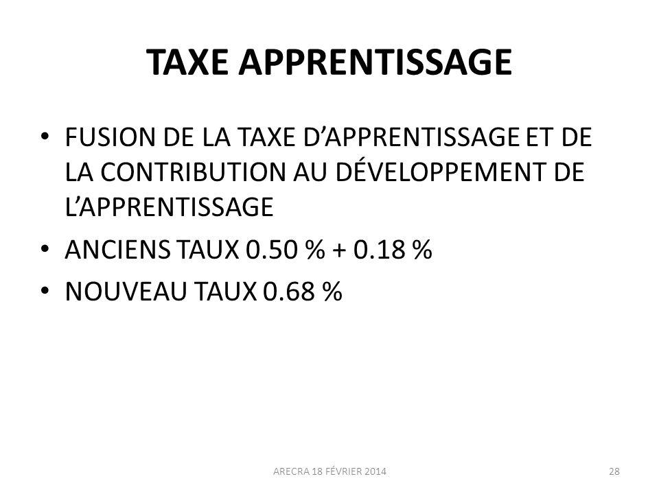 TAXE APPRENTISSAGE FUSION DE LA TAXE D'APPRENTISSAGE ET DE LA CONTRIBUTION AU DÉVELOPPEMENT DE L'APPRENTISSAGE.