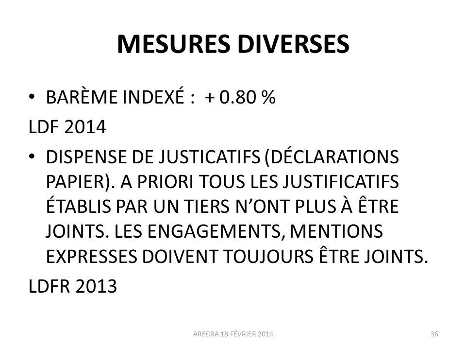 MESURES DIVERSES BARÈME INDEXÉ : + 0.80 % LDF 2014