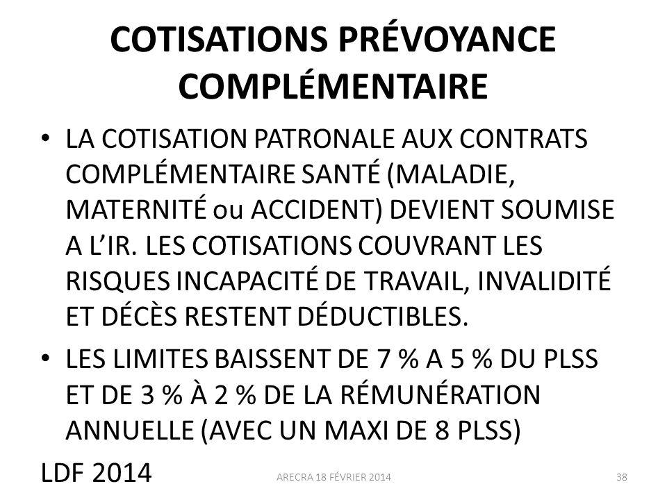 COTISATIONS PRÉVOYANCE COMPLÉMENTAIRE