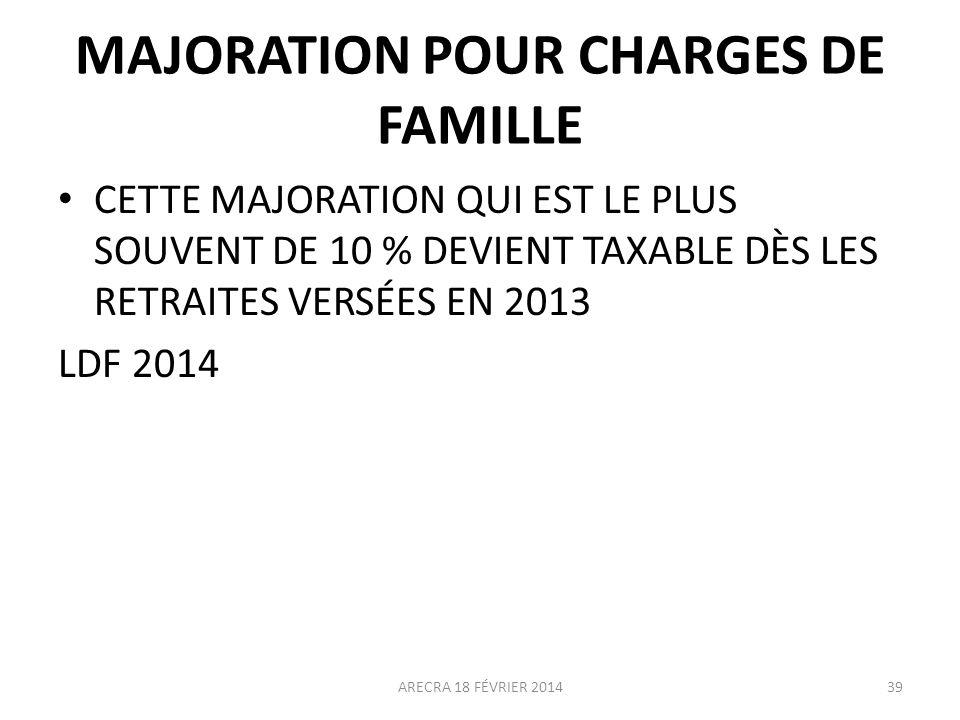 MAJORATION POUR CHARGES DE FAMILLE