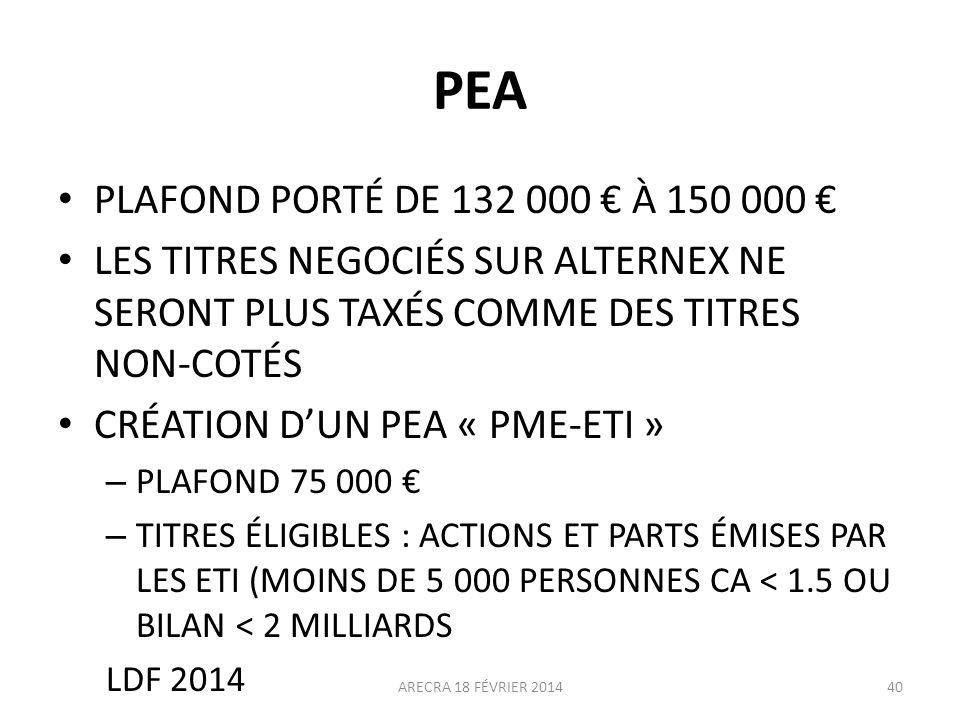 PEA PLAFOND PORTÉ DE 132 000 € À 150 000 €