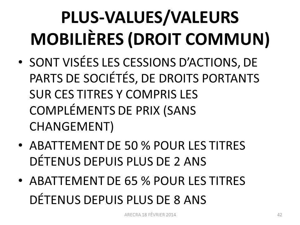 PLUS-VALUES/VALEURS MOBILIÈRES (DROIT COMMUN)