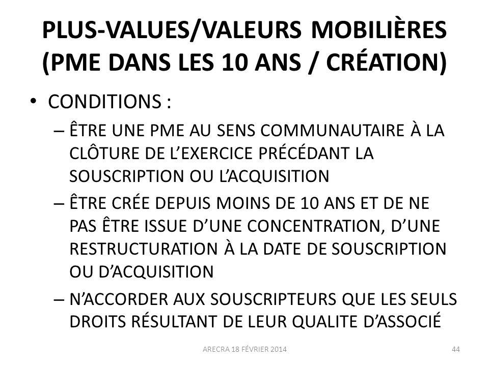 PLUS-VALUES/VALEURS MOBILIÈRES (PME DANS LES 10 ANS / CRÉATION)
