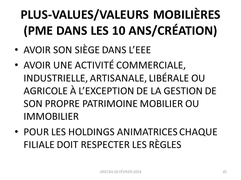 PLUS-VALUES/VALEURS MOBILIÈRES (PME DANS LES 10 ANS/CRÉATION)