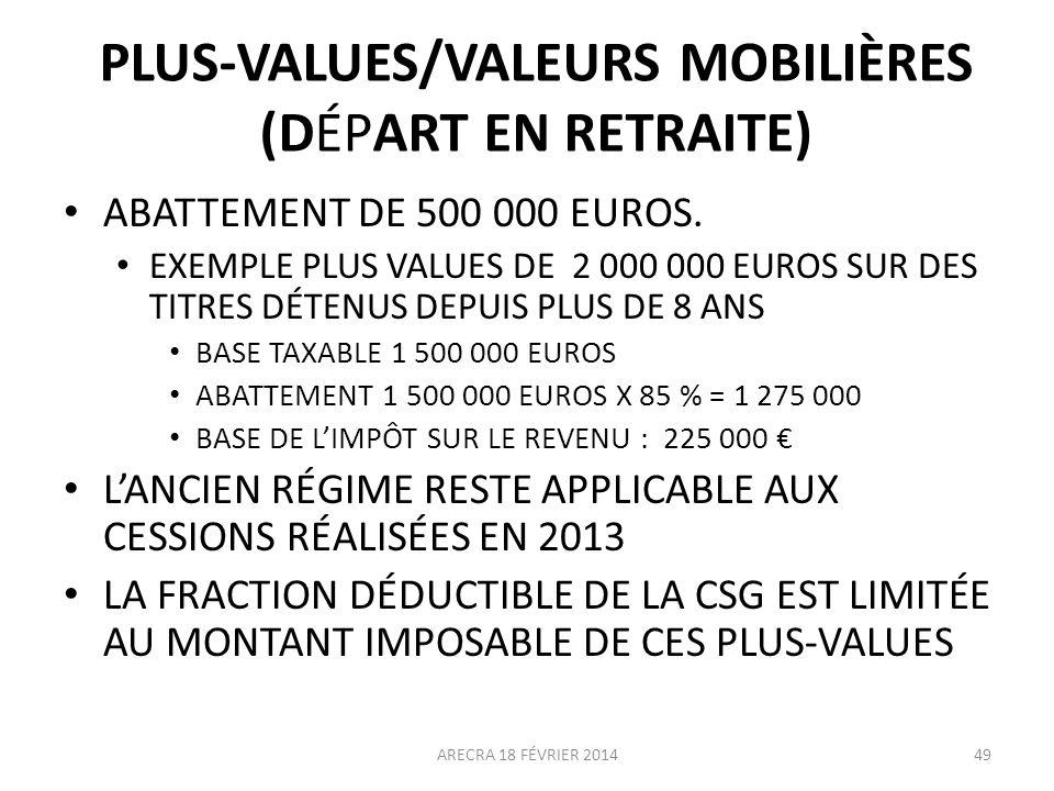 PLUS-VALUES/VALEURS MOBILIÈRES (DÉPART EN RETRAITE)