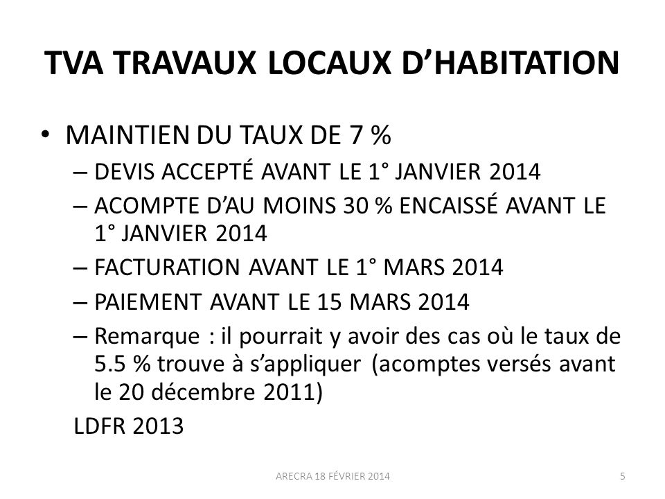 TVA TRAVAUX LOCAUX D'HABITATION