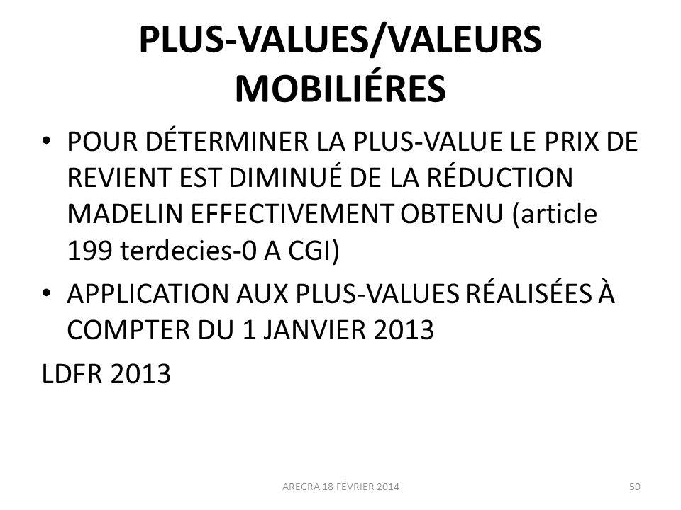 PLUS-VALUES/VALEURS MOBILIÉRES