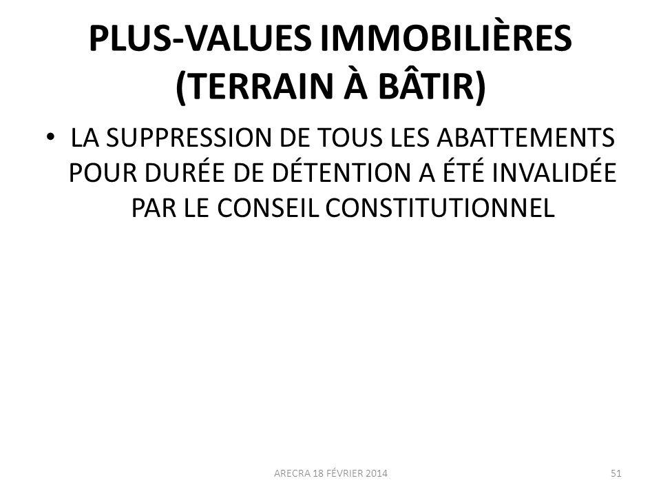 PLUS-VALUES IMMOBILIÈRES (TERRAIN À BÂTIR)