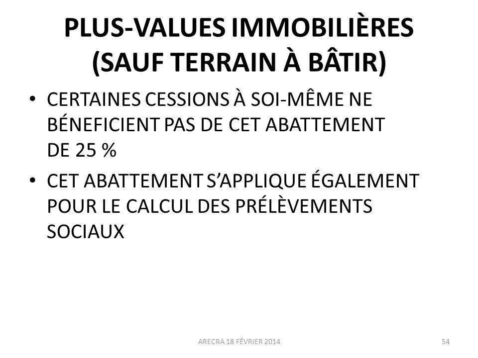 PLUS-VALUES IMMOBILIÈRES (SAUF TERRAIN À BÂTIR)
