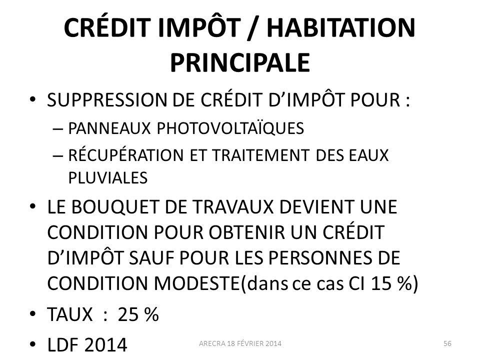 CRÉDIT IMPÔT / HABITATION PRINCIPALE