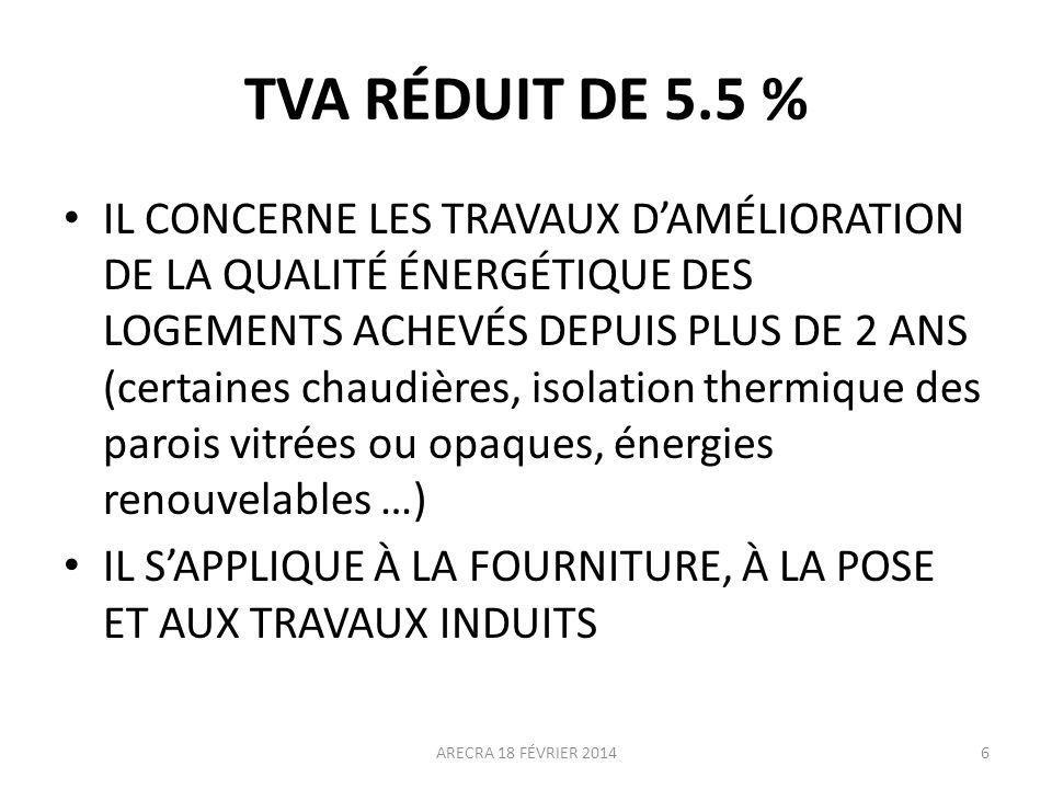 TVA RÉDUIT DE 5.5 %