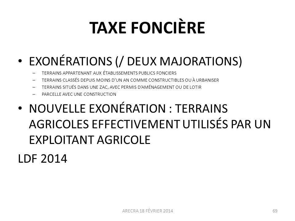 TAXE FONCIÈRE EXONÉRATIONS (/ DEUX MAJORATIONS)