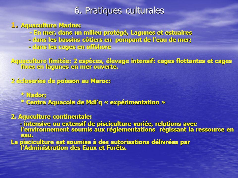 6. Pratiques culturales Aquaculture Marine:
