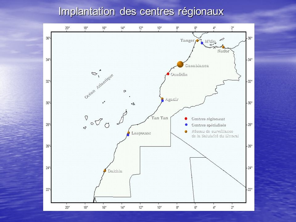Implantation des centres régionaux