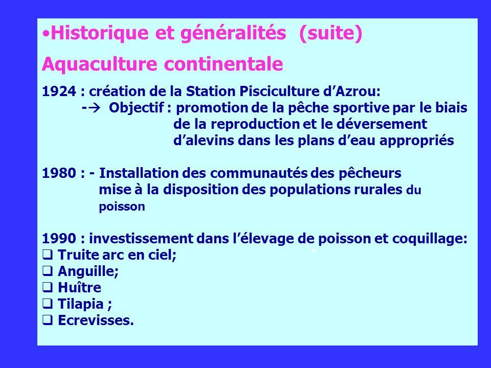 Historique et généralités (suite) Aquaculture continentale