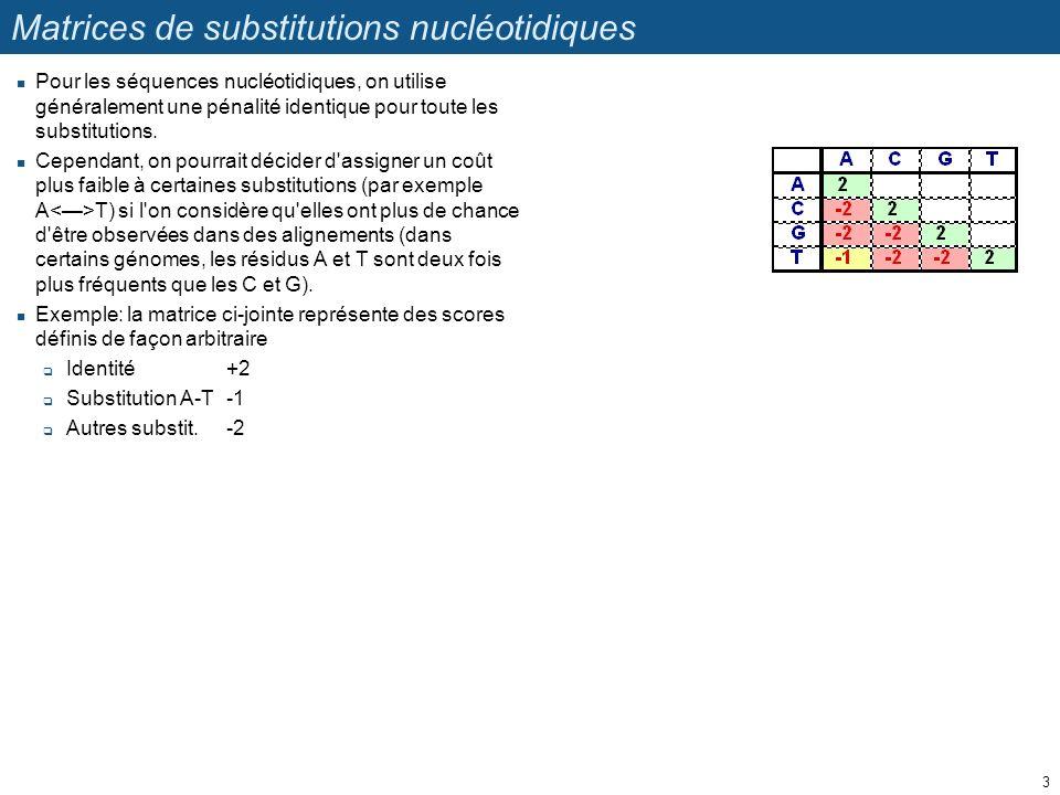 Matrices de substitutions nucléotidiques