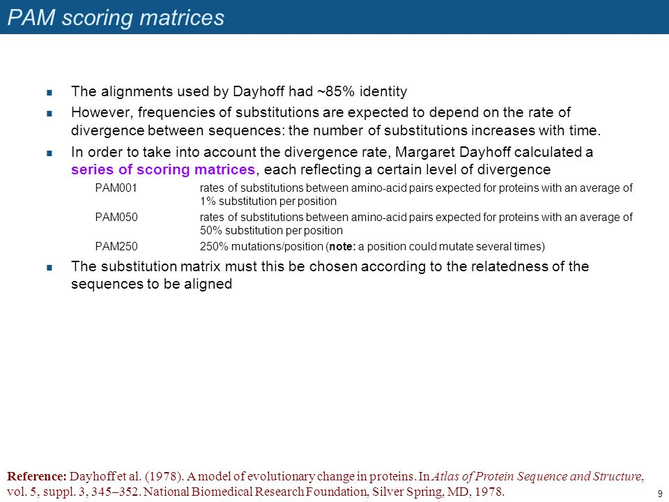 PAM scoring matrices The alignments used by Dayhoff had ~85% identity