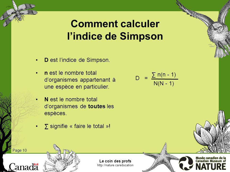 Comment calculer l'indice de Simpson